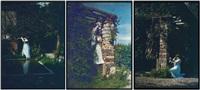 extérieur: femme devant un bassin (+ 2 others; 3 works) by edmond goldschmidt