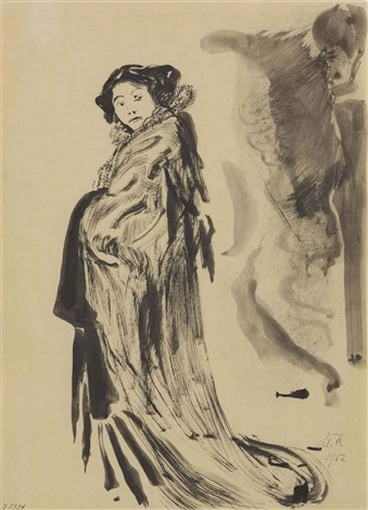 japanerin mrs hanza tanahashi recto preliminary figure sketch verso  by max klinger