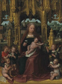 the virgin and child enthroned, with musical angels, a landscape beyond by adriaen isenbrant
