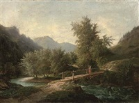 a mountainous wooded river landscape with a figure crossing a bridge by john o'connor