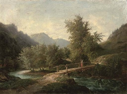 a mountainous wooded river landscape with a figure crossing a bridge by john oconnor