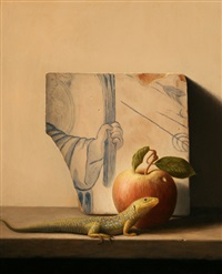still life with lizard, apple and portuguese tile by stuart morle