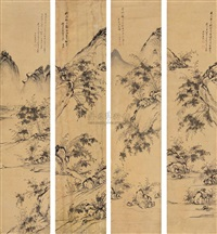 landscape (set of 4) by xia dongxu
