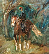 a boy riding a horse by joseph kossonogi