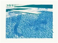 lithograph of water made of thick and thin lines, a green wash, a light blue wash, and a dark blue wash by david hockney
