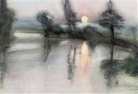 moonlit pond by michael andrews