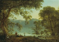 an italianate landscape with washerwomen resting under a tree by martin verstappen