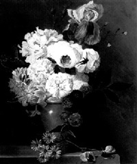 a still life with flowers in a vase on a ledge by elisa-emilie lemire