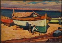 enfants repeignant une barque by raymond martinez