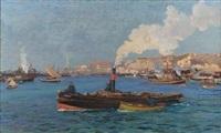 veduta del porto di genova con rimorchiatori by andrea figari