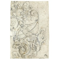 design for a decoration: a man riding a dragon by french school-fontainebleau (16)