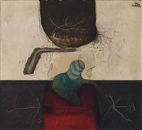 un ensemble de deux huiles et collages sur toile by manuel bea
