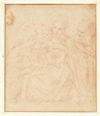 lotto composto da un disegno e un'incisione raffiguranti madonna con bambino e santi by annibale carracci