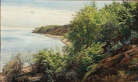 summer day at a danish fiord by janus andreas barthotin la cour