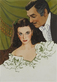 clark gable and vivien leigh in gone with the wind by richard amsel