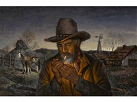 cowboy lighting a cigarette by alfredo rodriguez
