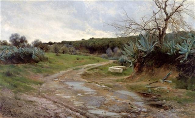 landschaft mit agaven am wegrand by josé pinelo llull