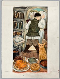 the cat and the cook (illustration for the cat and the cook and other fables of krylov by ethel heins) by anita lobel