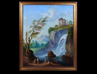 waterfall landscape with figures and antiquated ruins by a.h. spinzio