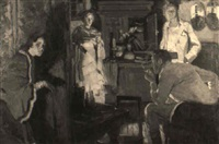four figures in an interior, woman listening at screen by rico tomaso