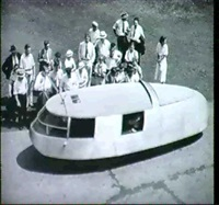 buckminster fuller's dymaxion autobile, inauguration day,  bridgeport, ct. by f. s. lincoln