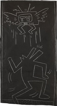 untitled (dog-man, flying t.v) by keith haring