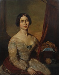 portrait of the famous 19th century ballerina fanny cerrito, seated, with the jewelled coronet and medal she was awarded in rome in by f. simoneau