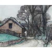 cottages by a wooded lane by robert polhill bevan