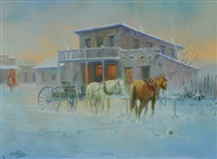 horse at hitching post by b.r. garvin