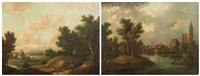 paysage de rivière près d'une ville, paysage de campagne (pair) by german school (18)