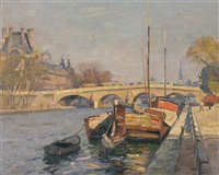the pont royal, paris by john william (sir) ashton
