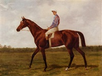 a chestnut racehorse with jockey up by alfred charles havell