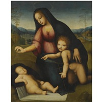 madonna and child in a landscape with the infant st. john the baptist by andrea piccinelli