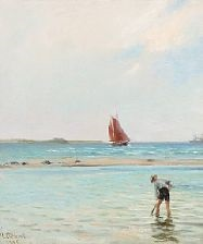 summer day with a boy in the shallows by janus andreas barthotin la cour