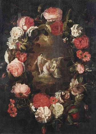 a flower garland with the martyrdom of saint dorothea of caesarea by frans francken the younger