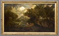 paysage à la cascade et au temple by nicolas poussin