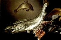a still life of fish on a stone slab by petrus staverenus