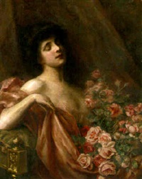 a lady with roses by paul de laboulaye