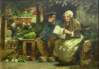 reading the news (market scene) by flora macdonald reid