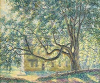 house in the shade of a tree by samuel george phillips