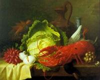 nature morte aux légumes et homard by ange louis guillaume lesourd-beauregard
