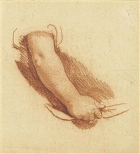 study of an arm (recto); sketch of a seated female figure (verso ) by jean baptiste greuze
