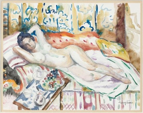 grand nu sur le divan à loustalet by henri charles manguin