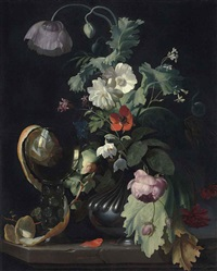 roses, a tulip, a poppy and other flowers in a vase and a half-peeled orange in a roemer, on a stone ledge by herman verelst