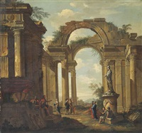 a capriccio of classical ruins, with figures conversing by a statue of minerva by giovanni paolo panini