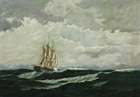 seascape with warship in high seas by carl (jens erik c.) rasmussen