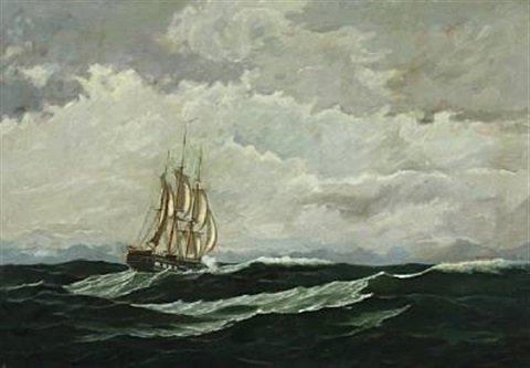 seascape with warship in high seas by carl jens erik c rasmussen