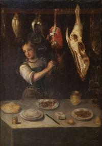 bodegón de cocina con carnes, aves y pescado by alejandro de loarte