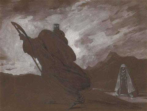 an allegory of death with scythe and hourglass by louis gabriel eugène isabey