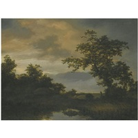a wooded river landscape with a shepherd and his flock on the bank by cornelis hendriksz vroom